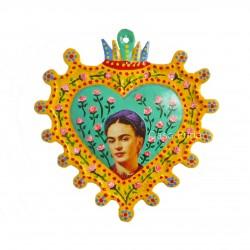 Coeur peint Frida Kahlo Jaune
