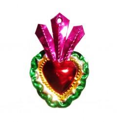 Coeur sacré avec 3 feuilles - Rose - Déco mexicaine - Casa Frida