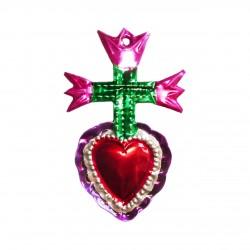 Sagrado corazón con 3 tulipanes - Rosa