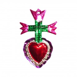 Tin sacred heart with 3 Tulips - Pink