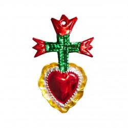 Sagrado corazón con 3 tulipanes - Rojo