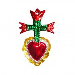 Tin sacred heart with 3 Tulips - Red