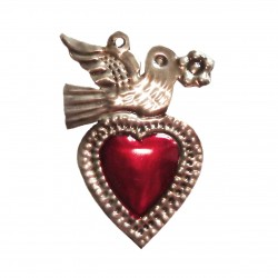 Tin sacred heart with bird