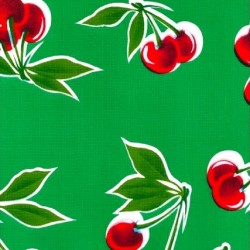 Green Cerezas oilcloth
