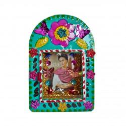 Frida Kahlo tin shrine turquoise - Mexican metal nicho - Casa Frida