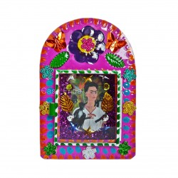 Frida Kahlo tin shrine pink - Mexican metal nicho - Casa Frida