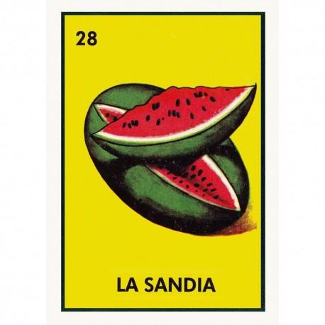 Poster La Sandia Mexican Loteria Card With Vintage Design Casa