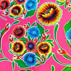Pink Dulce flor oilcloth offcut