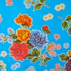 Blue Crisantemos oilcloth offcut