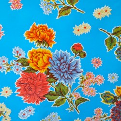 Recorte de hule Crisantemos Azul