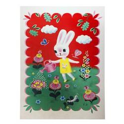 Poster Lapin dans le jardin