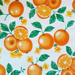 Oilcloth Naranjas White