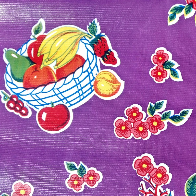 Oilcloth Tropical Purple Wipe Clean Fabric By The Meter