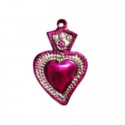 Sagrado corazón pequeño con flor Rosa