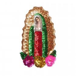 Parche lentejuelas Virgen de Guadalupe 18cm