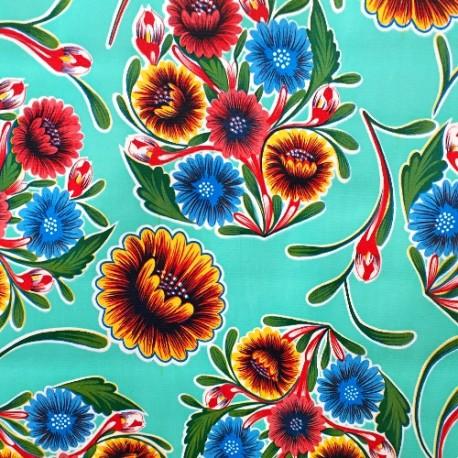 Turquoise Dulce flor oilcloth