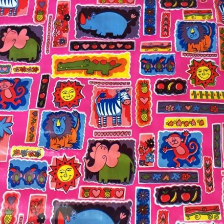 Pink Animalitos oilcloth