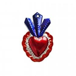 Sagrado corazón con 3 llamas Azul