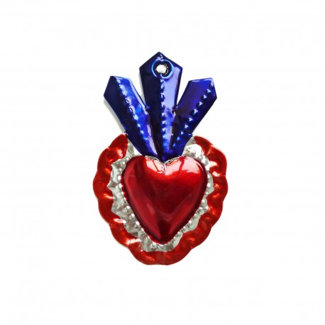 Tin sacred heart with 3 flames Blue