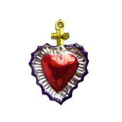 Tin sacred heart with cross Yellow