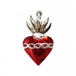 Tin sacred heart with crown of thorns