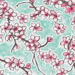 Turquoise Flor de cereza oilcloth