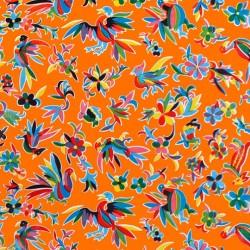Orange Otomi oilcloth offcut