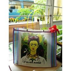 Sac cabas sérigraphié - Frida Kahlo - Blanc