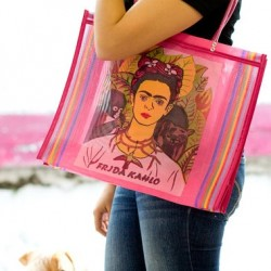 Pink Frida Kahlo market bag