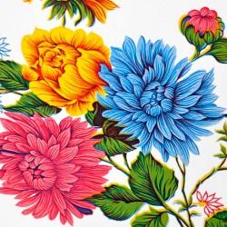 Coupon de toile cirée Crisantemos Blanc