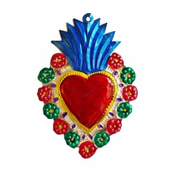 Sacred heart with floral border Blue
