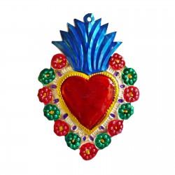 Sagrado corazón con flores Azul