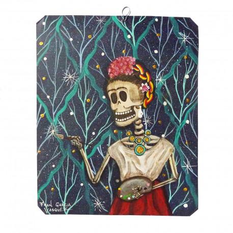 Frida pintando estrellas Painting