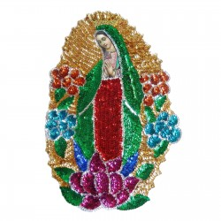 Parche lentejuelas Virgen de Guadalupe 45cm