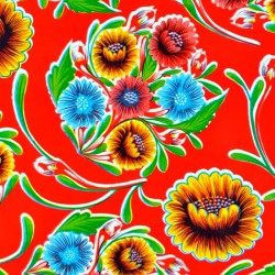 Red Dulce flor oilcloth offcut