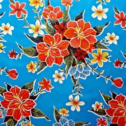 Blue Hibisco oilcloth offcut