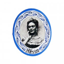 Imán Frida en negro y blanco Azul