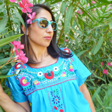 Turquoise short embroidered dress