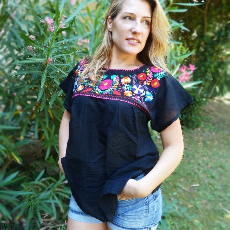 31575c1b Black Mexican blouse - Embroidered shirt from Mexico - Casa Frida