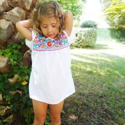 Blusa Mexicana niña Blanco