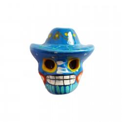 Imán Calavera con sombrero Azul