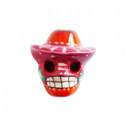 Hot pink Skull with sombrero magnet