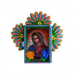 Green Mini Virgin of Guadalupe tin shrine