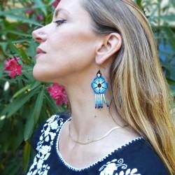 Aretes Flor Azul