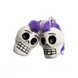 Boucles d'oreilles Calavera punk Violet