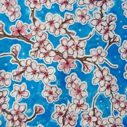 Royal blue Flor de cereza oilcloth
