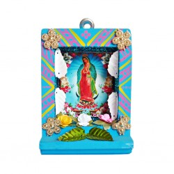 Turquoise Small Virgin of Guadalupe shrine