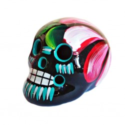 Black Mexican skull with flowers