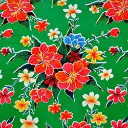 Green Hibisco oilcloth offcut