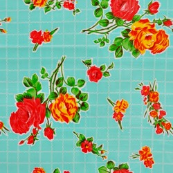Turquoise Rosedal oilcloth offcut